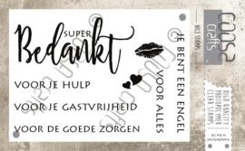 COOSA Crafts clear stamps #1 - Tekst 'Bedankt' A7 - 8-delig (NL)