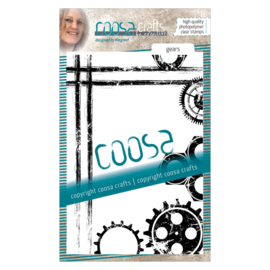 COOSA Crafts clear stamp #06 - Mooi voor Mannen - Gears A6