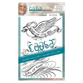 COOSA Crafts clear stamp #03 - Birds - Lots of Love A6