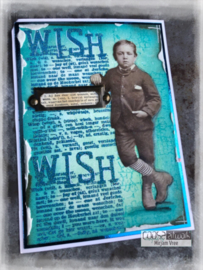 COOSA Crafts Clear Stamp #16 - Word on background - Wish A7