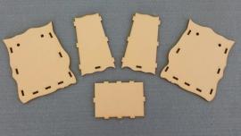 Tasje  (middelgroot) 13.5 x 11,5 x 8 cm - 3 mm dik houtboard