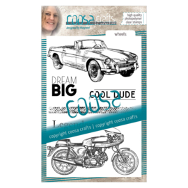 COOSA Crafts clear stamp #06 - Mooi voor Mannen - Wheels A6