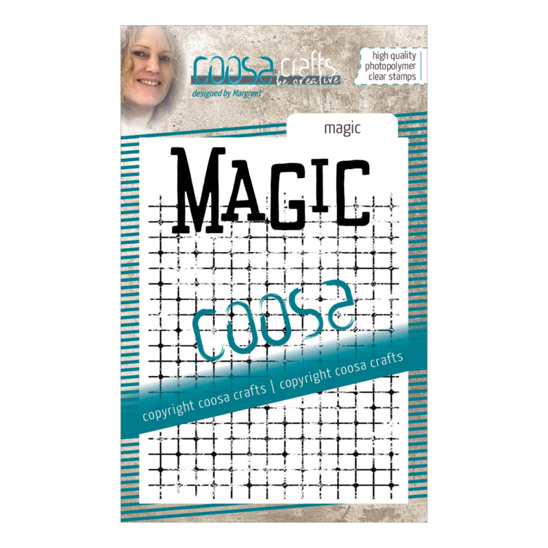 COOSA Crafts clear stamp #14 - Word on background - Magic A7