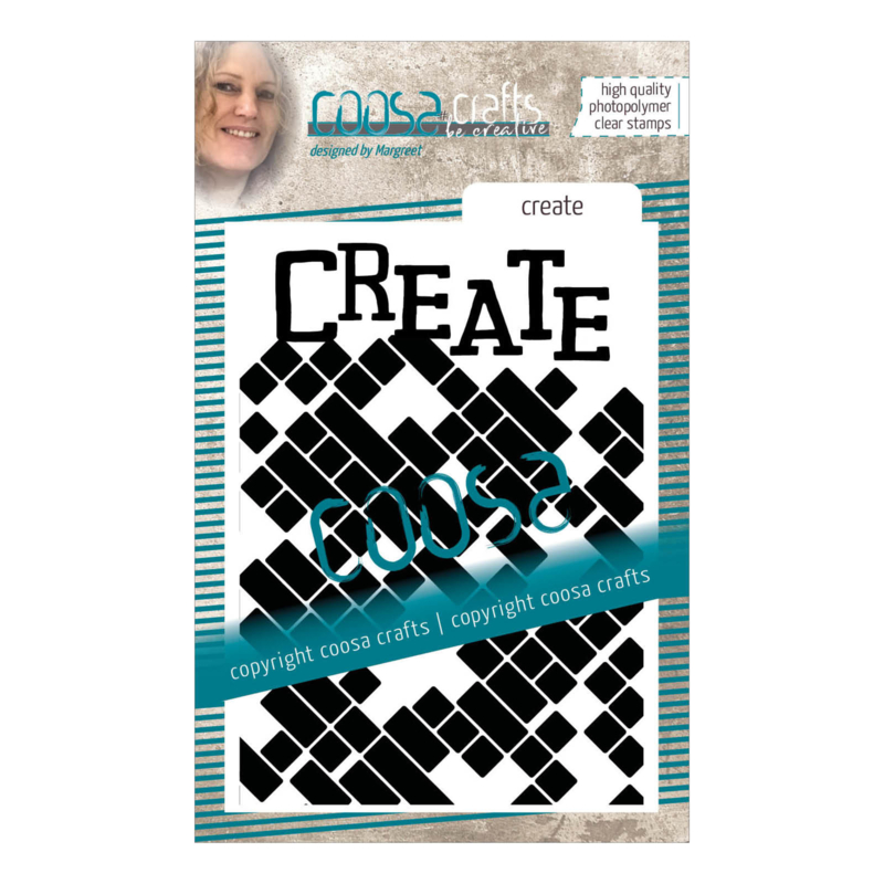 COOSA Crafts clear stamp #14 - Word on background - Create A7