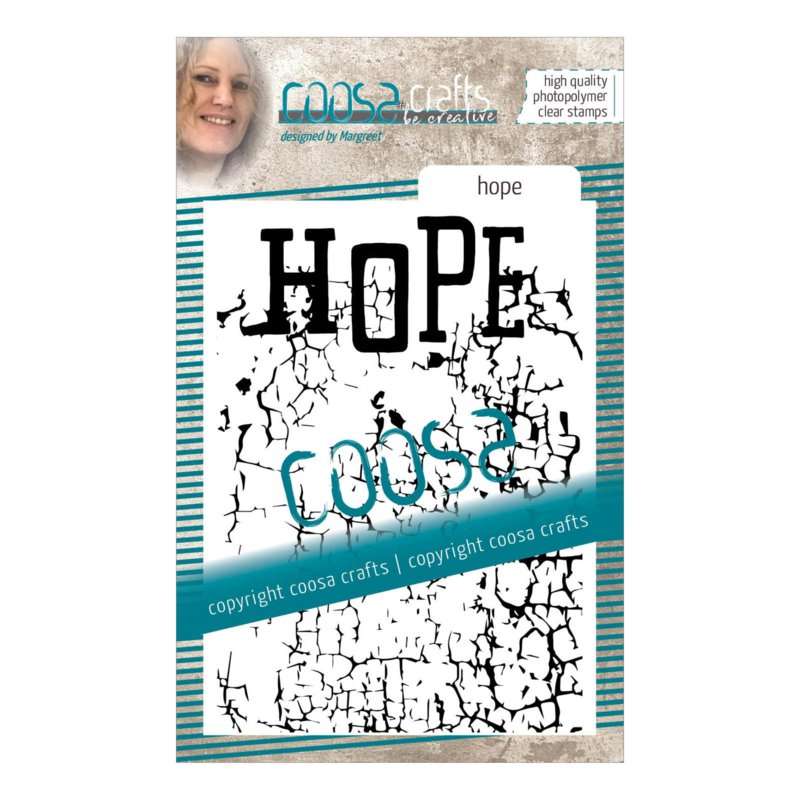 COOSA Crafts Clear Stamp #16 - Word on background - Hope A7