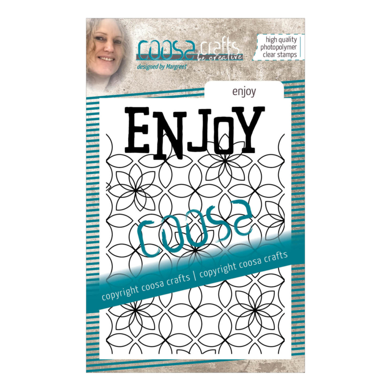 COOSA Crafts clear stamp #15 -  Word on background - Enjoy A7