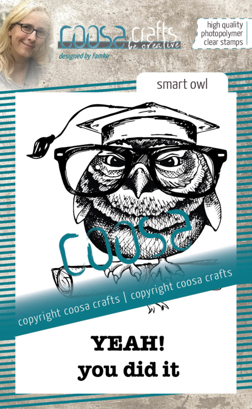 COOSA Crafts Clear Stamps #18 - Smart Owl A7 by Famke