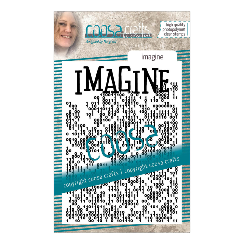 COOSA Crafts clear stamp #14 - Word on background - Imagine A7