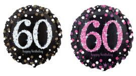 60 - Folie Ballon-Happy Birthday -Confetti - Fuchsia of Roze / Zwart 17 Inch / 43 cm.