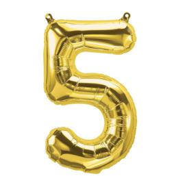 Cijfer - 5 - nummer - Goud - Folie ballon (lucht) - 16inch / 40 cm