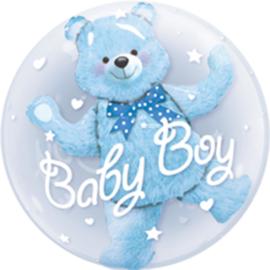 Bubble Ballon - Baby Boy -Blauwe Beer -   dubbele ballon-24inch/61cm.
