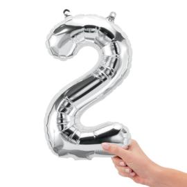 Cijfer - 2 - nummer - zilver - Folieballon (lucht) - 16inch / 40 cm