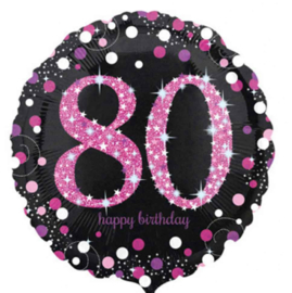 80 - Folie Ballon-Happy Birthday -Confetti - Fuchsia / Zwart  17 Inch / 43 cm.