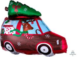 Kerstballon - Driving home for Christmas  -2 kanten bedrukt - Folie ballon 20 x 15 Inch/ 50cmx38cm