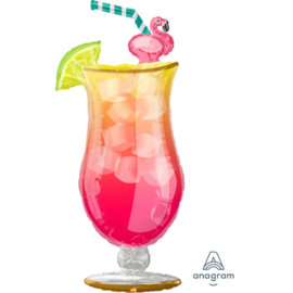 Cocktail glas met Flamingo - XXL Folie Ballon - 20x41 Inch/50x104cm