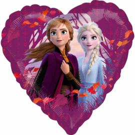 Disney Frozen II - Anna en Elsa - Hart Folie Ballon - 17 Inch/43 cm