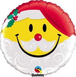 Lachend Kerstman emoticon - Folie ballon - 18 Inch / 45cm