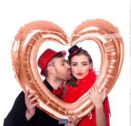 Foto / Selfie Frame Ballon - Rose Goud - Hart  - Folie Ballon - 80x70cm