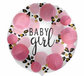 Baby Girl - Blauw / Panterprint - Folie Ballon - 17 Inch/43cm