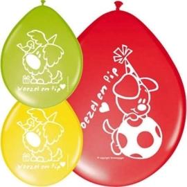 Woezel & Pip - Rood / Geel / Groen - Latex Ballonnen - 8st.