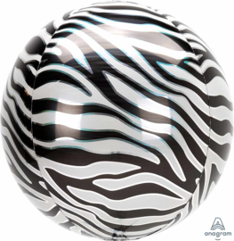 Zebra Print - Ronde Folie Ballon - Orbz -15 x 16 Inch / 38x40 cm