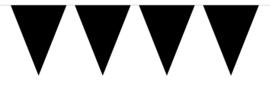 Zwart - Vlaggenlijn - 15 vlaggen van 29 cm - 10 meter