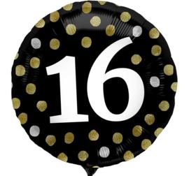 16 - Zwart / Goud /Zilver - Folie Ballon -18 Inch/45 cm