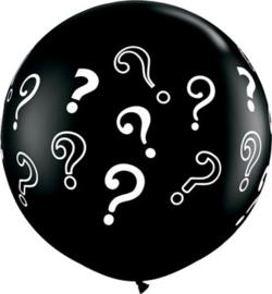 DIY : Gender Reveal - Grote Zwarte Ballon - ? - Vraagtekens - LatexBallon  - 36 Inch./ 90cm