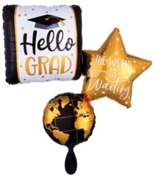 Hello Grad, The World is Waiting- XXL- 3 in1 FolieBallon- 32x34 Inch/81x86cm