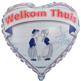 Welkom Thuis - Delfs Blauw - Kussend Stelletje - Klompjes -18 inch/45 cm