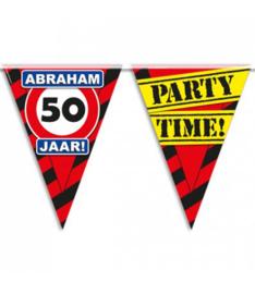 50 - Verkeersbord - Abraham - 50 jaar  - Party Time! - Vlaggenlijn - 10 m