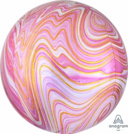 Marmer - Goud Roze / Wit  - Ronde Ballon - Orbz - 15x16 Inch / 38x40cm