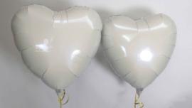 Hart - Wit - Folie Ballon - 18 Inch / 45cm