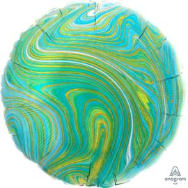 Marmer - Blauw / Goud / Groen - Ronde Ballon - 17 Inch / 43 cm