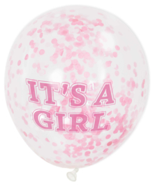 It's a Girl -  Roze Confetti Ballon - 12 Inch/ 30 cm