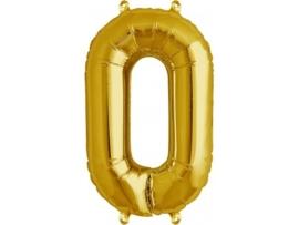 Cijfer - 0 - nummer - Goud - Folie ballon (lucht) - 16inch / 40 cm