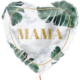 Mama - Hart Ballon -Marmer en Blad - 18Inch/45