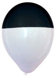 Latex ballon - Zwart / Wit - Dip - 12 Inch/30 cm - 5 st