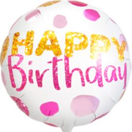 Happy Birthday - Roze/Gouden Stippen - Folie Ballon- 18 inch/45cm