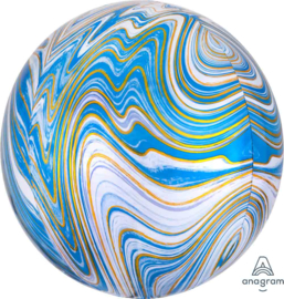 Marmer - Blauw / Goud / Wit - Ronde Ballon - Orbz - 15x16 Inch / 38x40cm