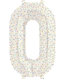 Cijfer - 0 - nummer - Spikkels - Div. Kleuren - Folie ballon (lucht) - 16inch / 40 cm