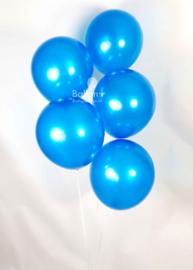 Blauwe ballonnen om te vullen met helium - Metallic - glans ballonnen - 30 cm - 5stk