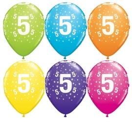 5 - nummer - div. Kleuren - latex ballon -11 inch/27,5cm