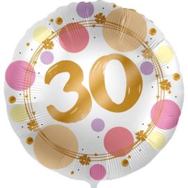30 - folie ballon- rond - satijn wit met stippen in het roze/goud -18 inch /45cm