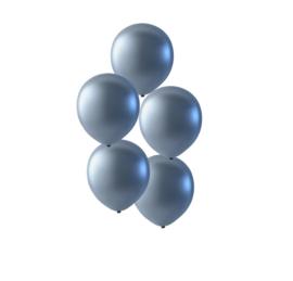Zilveren latex ballonnen om te vullen met helium - Metallic zilver - glans ballonnen - 35 cm - 5stk