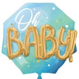 Oh Baby - Blauw -  3D effect - XXL Folie Ballon - 30 Inch/76 cm