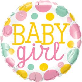 Baby Girl - Stippen Roze/Mint/Geel - Folie Ballon -18 Inch/ 45 cm