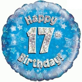 17 Folie ballon -  Happy Birthday - blauw - 18 Inch/45cm