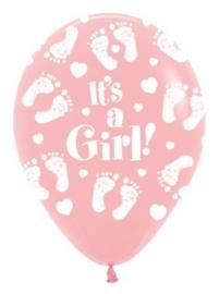It's a Girl ! -  Baby voetjes - Roze - Latex Ballonnen - 12  Inch / 30 cm.
