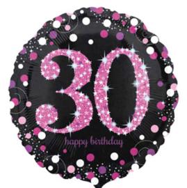 30 - Folie Ballon-Happy Birthday -Confetti - Fuchsia / Zwart  17 Inch / 43 cm.